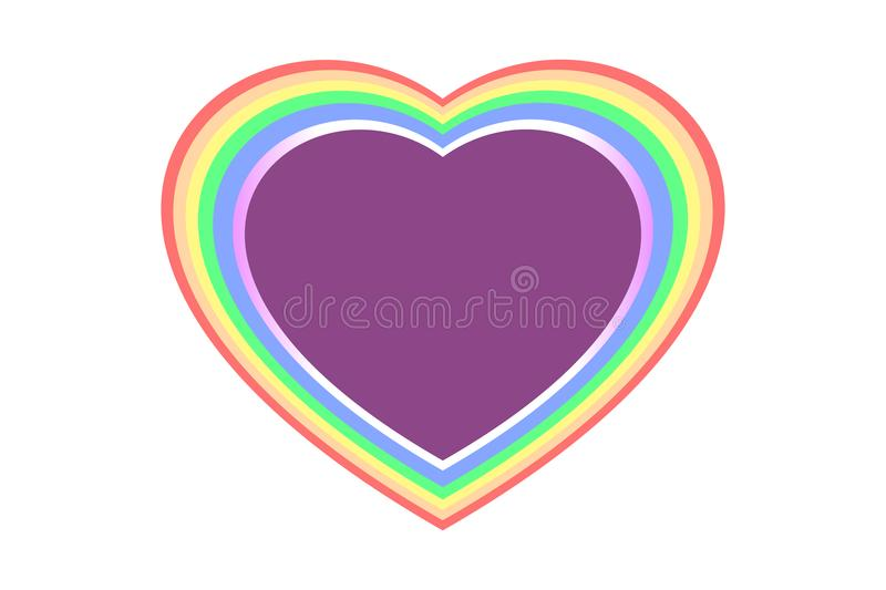 Colorful and multi-layered rainbow heart shape over purple color, isolated on white transparent background - center copy space. vector illustration