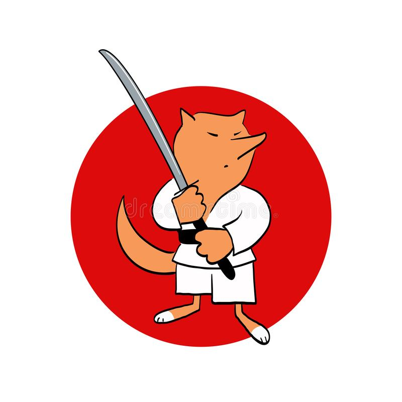 Fox or akita with katana. Emblem for sport club. Martial arts badge. vector illustration
