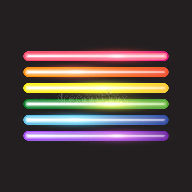 Glowing neon lines, abstract LGBT flag royalty free illustration