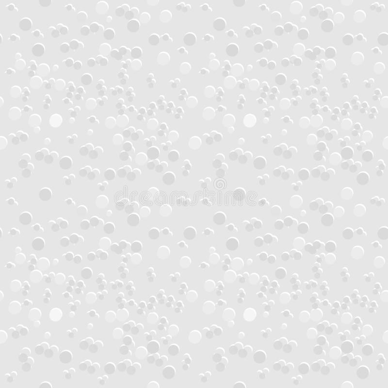 Seamless geometric pattern of gray and white texture background, many dot sizes, similar to styrofoam texture. Flat design vector. stock illustration