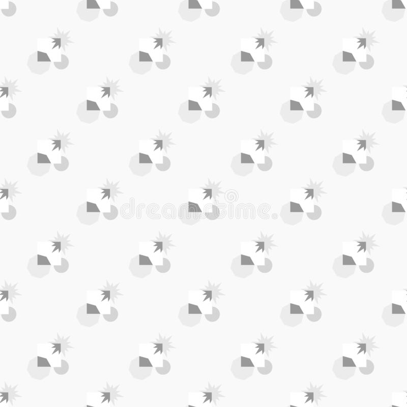 Seamless pattern of stars and polygon geometric shapes in gray and white colors - black and white pattern. Flat design vector. vector illustration