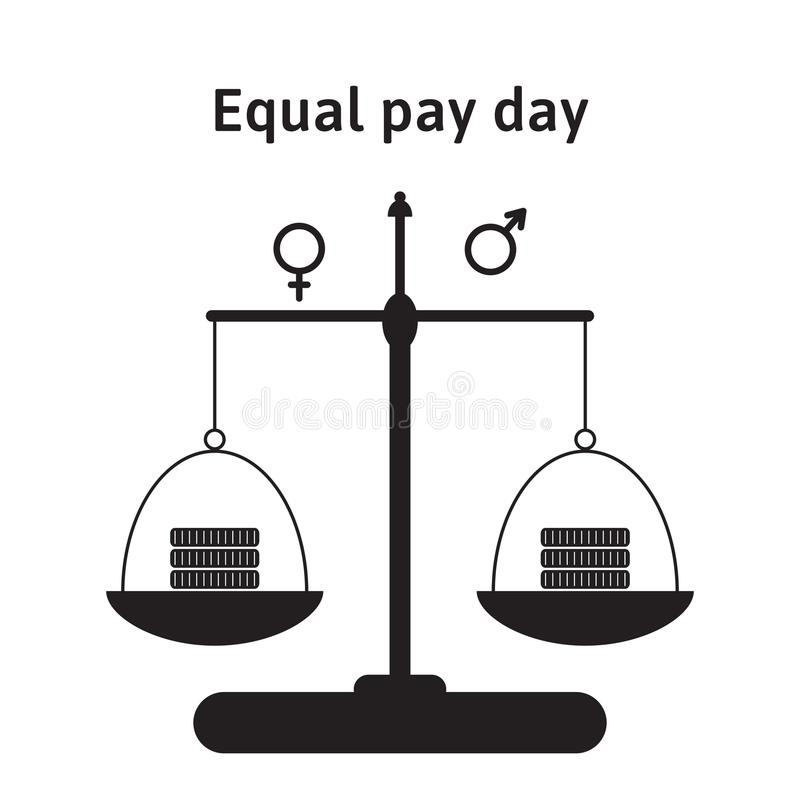 A vector illustration for equal pay day in April. The correction of regarding pay inequality between men and women. Money, coins o royalty free illustration