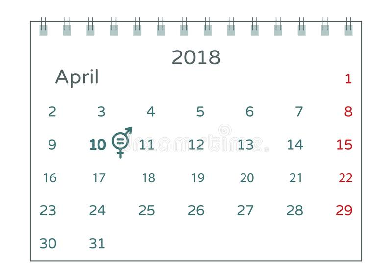 Vector illustration of equal pay day on second tuesday in April. A calendar with the symbol of raising awareness of the gender pay. Gap. No inequality pay royalty free illustration