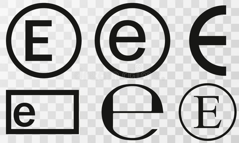 Vector illustration estimated sign, e-mark set, e symbol isolated on Transparent background. Vector illustration estimated sign, e-mark set, e symbol isolated on royalty free illustration