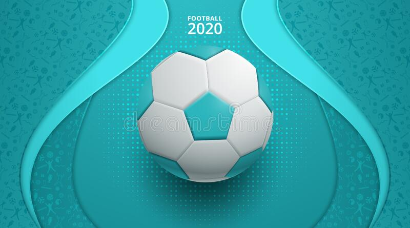 Vector illustration. European football cup 2020. ball graphic design on a Turquoise background. Vector illustration royalty free illustration