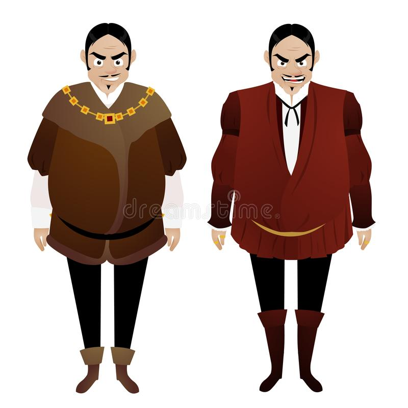 Evil male merchant in the medieval ages. This is a vector illustration of an Evil male merchant in the medieval ages royalty free illustration