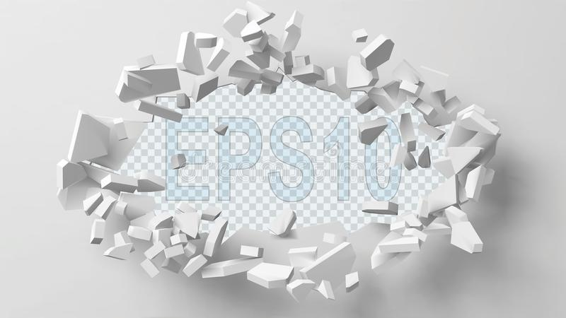 Vector illustration of exploding wall with free area on center for any object or background. Suitable for any logo, object or background revealing situation stock illustration