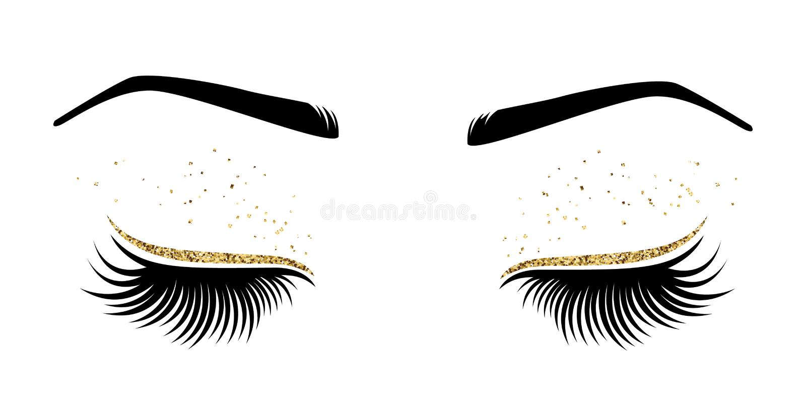 Vector illustration of eyes with long eyes lashes. For beauty salon, lash extensions maker stock illustration
