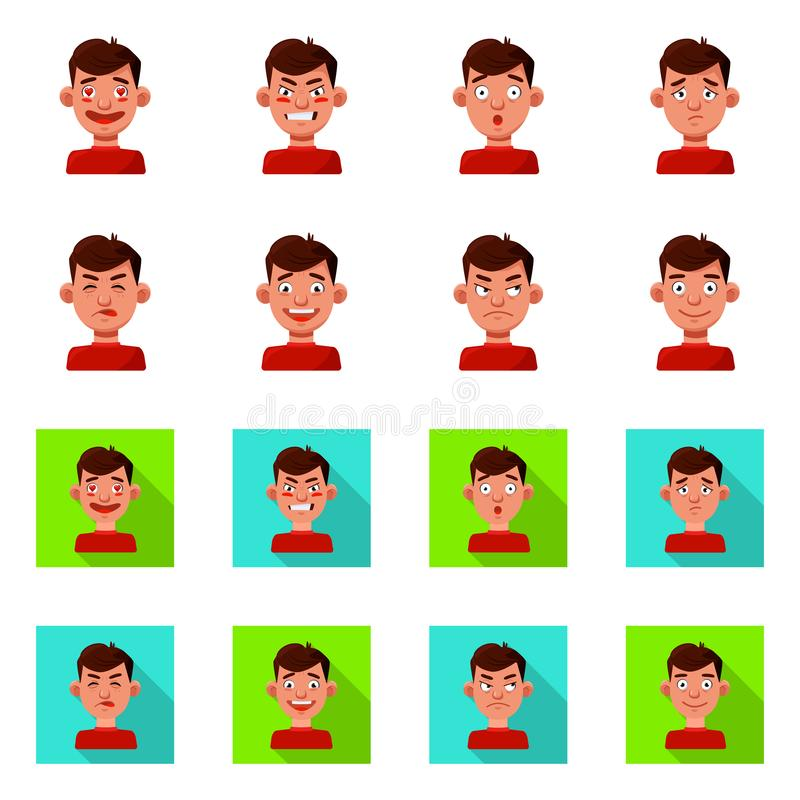 Vector illustration of face and boy icon. Collection of face and human vector icon for stock. Isolated object of face and boy symbol. Set of face and human stock illustration