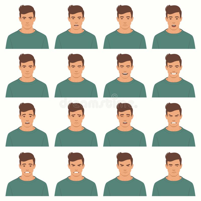 Vector illustration of a face expressions royalty free illustration