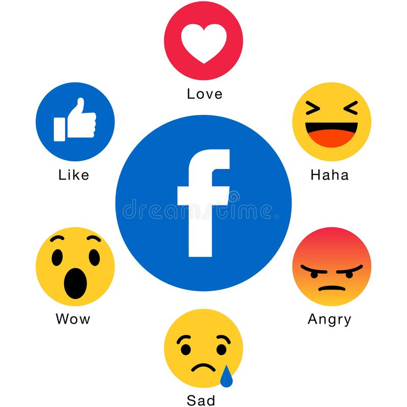 Facebook emoji icons like. Vector illustration of facebook popular emoji icons colorful on white background stock illustration