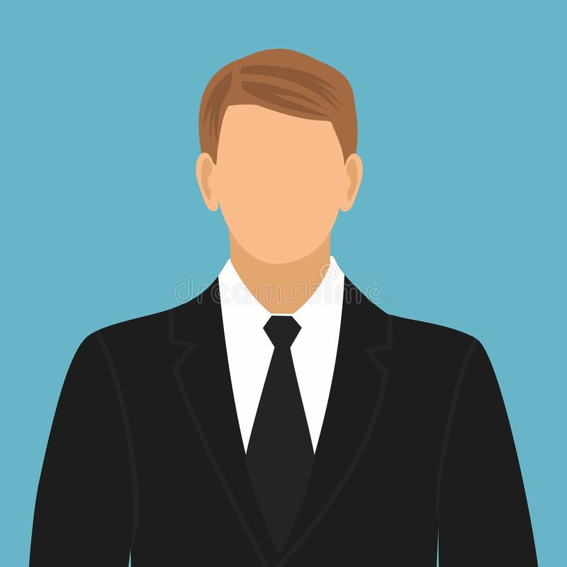 Faceless man in a suit with a tie vector illustration