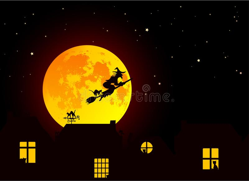 Vector illustration: Fairy tale Halloween landscape with realistic full yellow orange moon, village landscape silhouettes with c stock illustration
