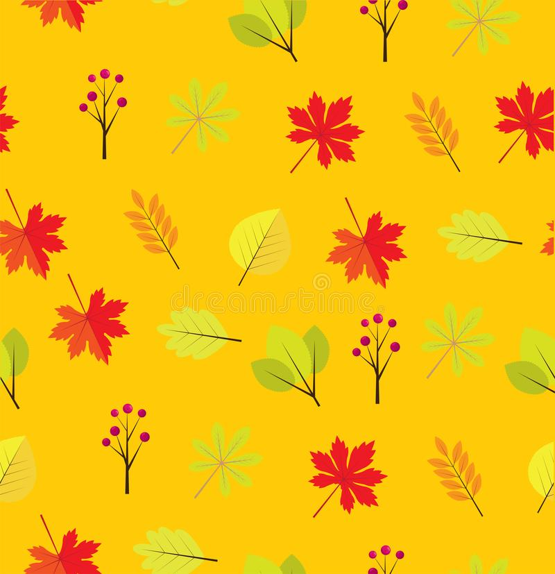 Vector Fall Leaves Seamless Background. Vector illustration of fall, autumn leaves. fall, autumn background. nature background stock illustration
