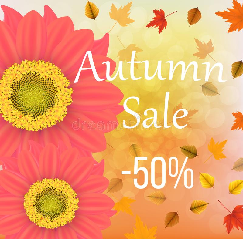 Vector illustration of fall leaves and flowers on an autumn bokeh background. Ready objects, elements with autumn -50 sale off background for your flyer royalty free illustration