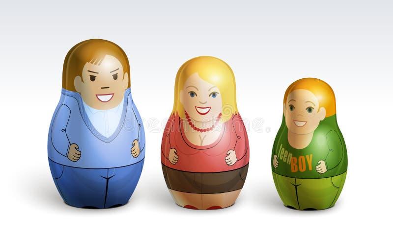 Vector illustration of a family dolls stock illustration