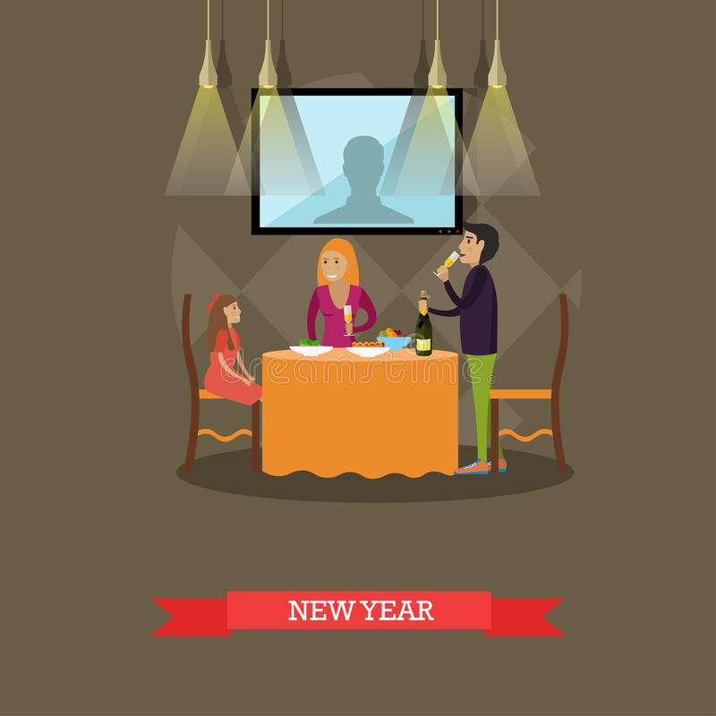 Vector illustration of family New Years Eve celebration, flat style royalty free illustration