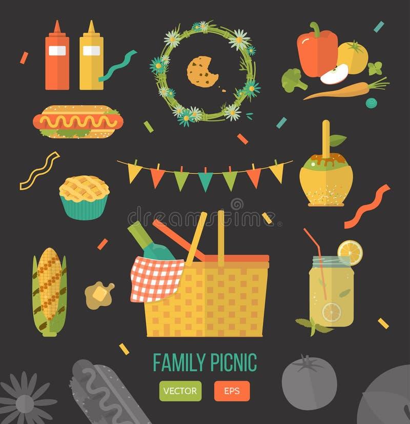 Vector illustration family picnic. Items for summer dinner, lunch for lovers. vector illustration
