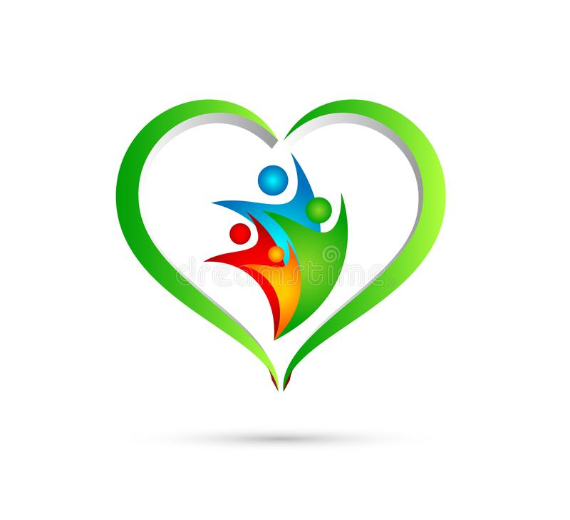 Family union, love and care in a green heart with wellness and heart shape logo icon vector element on white background. stock illustration