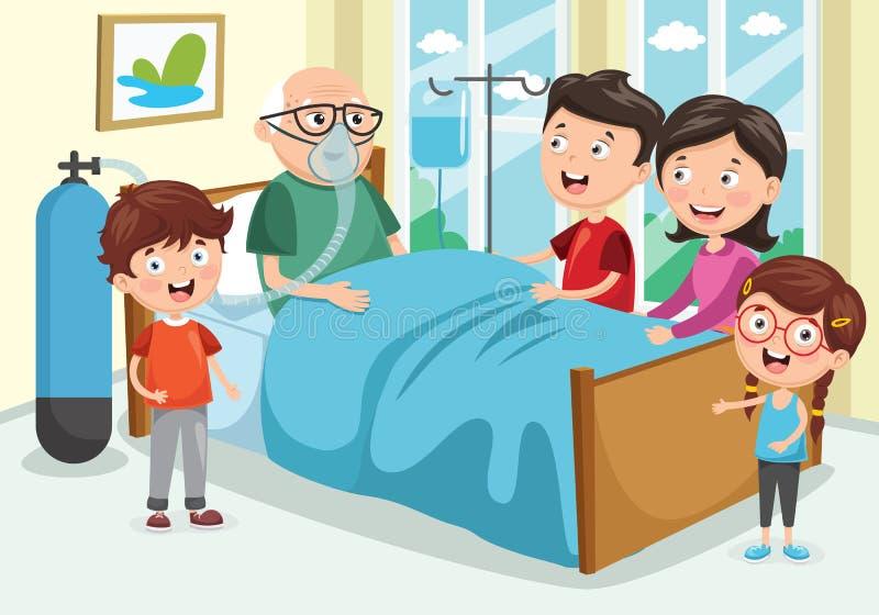 Vector Illustration Of Family Visit Grandfather At Hospital royalty free illustration