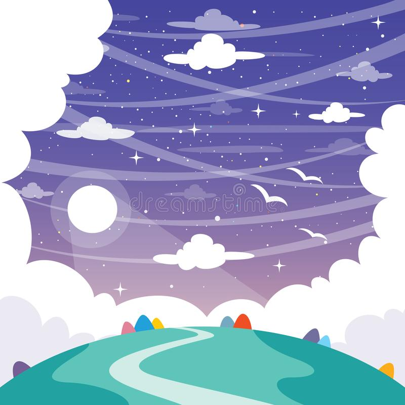 Vector Illustration Of Fantasy Landscape Background. Eps 10 royalty free illustration