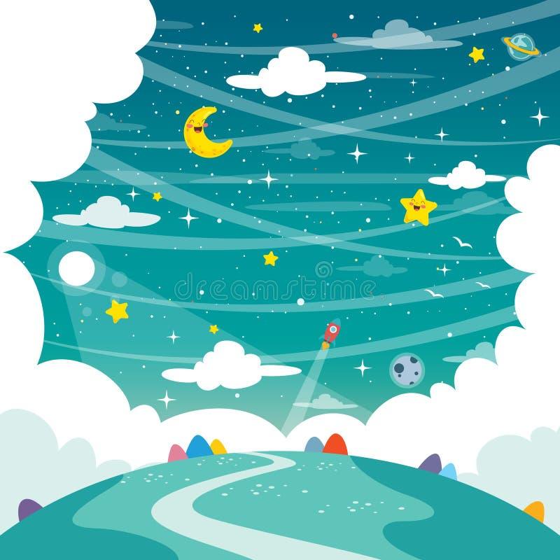Vector Illustration Of Fantasy Landscape Background. Eps 10 stock illustration