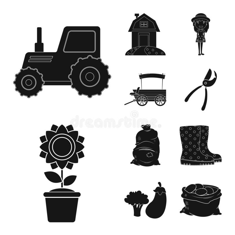 Vector illustration of farm and agriculture icon. Set of farm and plant stock vector illustration. vector illustration