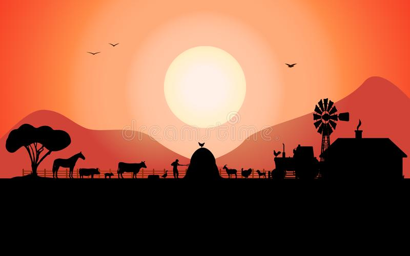Vector farm silhouette with a ranch animals stock illustration