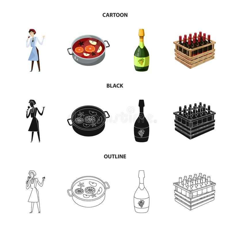 Vector design of farm and vineyard icon. Collection of farm and product stock symbol for web. royalty free illustration