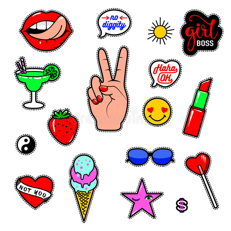 Vector illustration of fashion fun patch stickers with lips, lipstick, hearts, hand, speech bubbles and other royalty free illustration