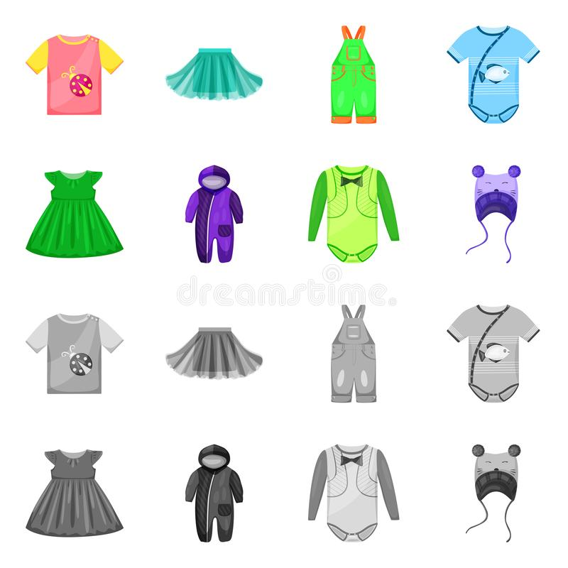 Vector illustration of fashion and garment icon. Set of fashion and cotton stock symbol for web. Isolated object of fashion and garment symbol. Collection of vector illustration