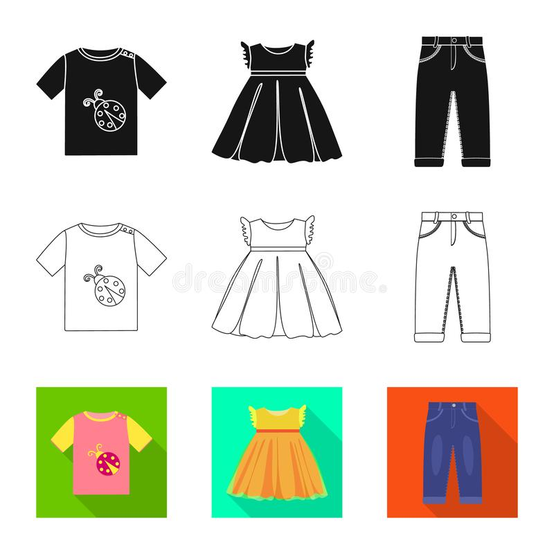 Vector design of fashion and garment logo. Collection of fashion and cotton stock symbol for web. Vector illustration of fashion and garment icon. Set of stock illustration