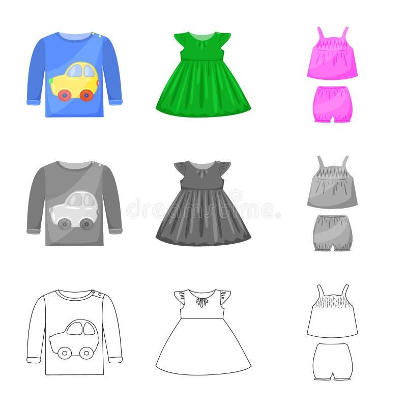 Vector illustration of fashion and garment logo. Set of fashion and cotton vector icon for stock. Isolated object of fashion and garment icon. Collection of vector illustration