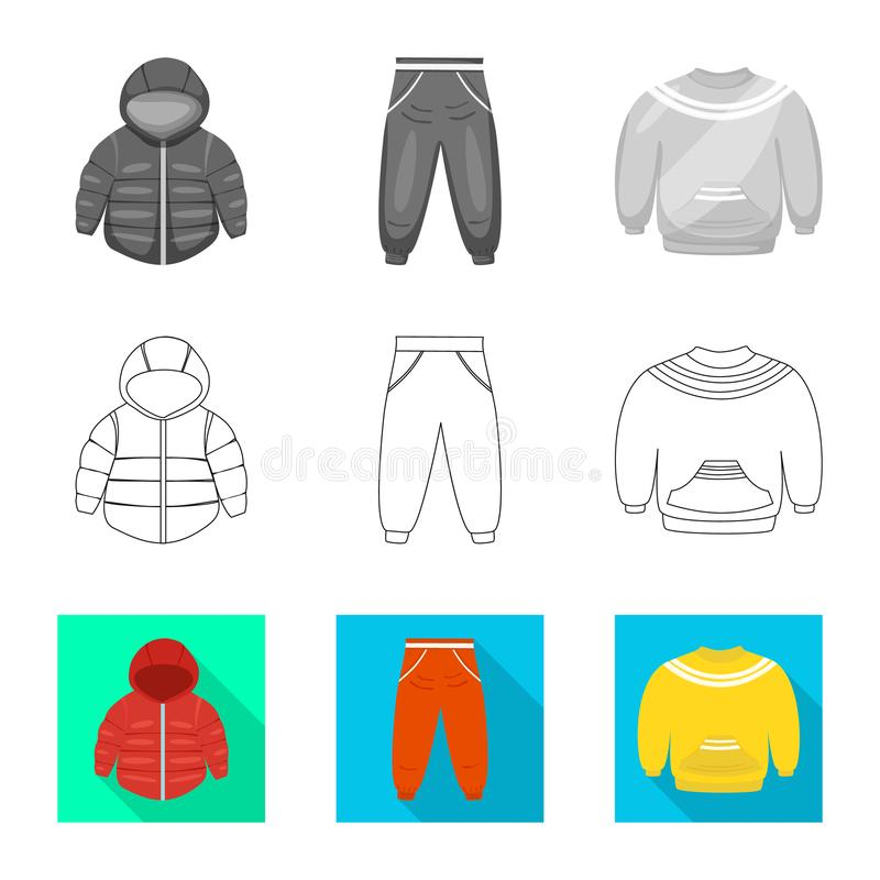 Vector illustration of fashion and garment logo. Set of fashion and cotton stock symbol for web. Isolated object of fashion and garment icon. Collection of vector illustration