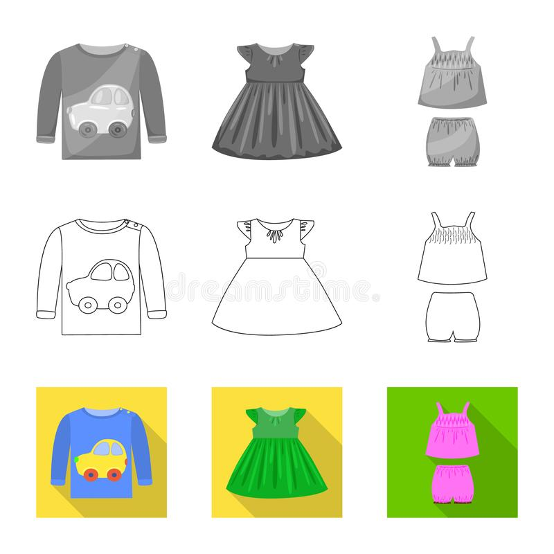 Vector design of fashion and garment sign. Collection of fashion and cotton vector icon for stock. Vector illustration of fashion and garment logo. Set of royalty free illustration