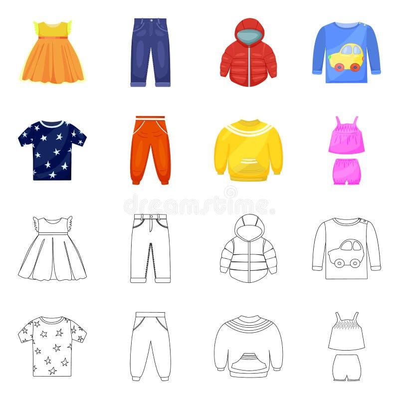 Vector illustration of fashion and garment sign. Collection of fashion and cotton stock vector illustration. Isolated object of fashion and garment logo. Set of royalty free illustration