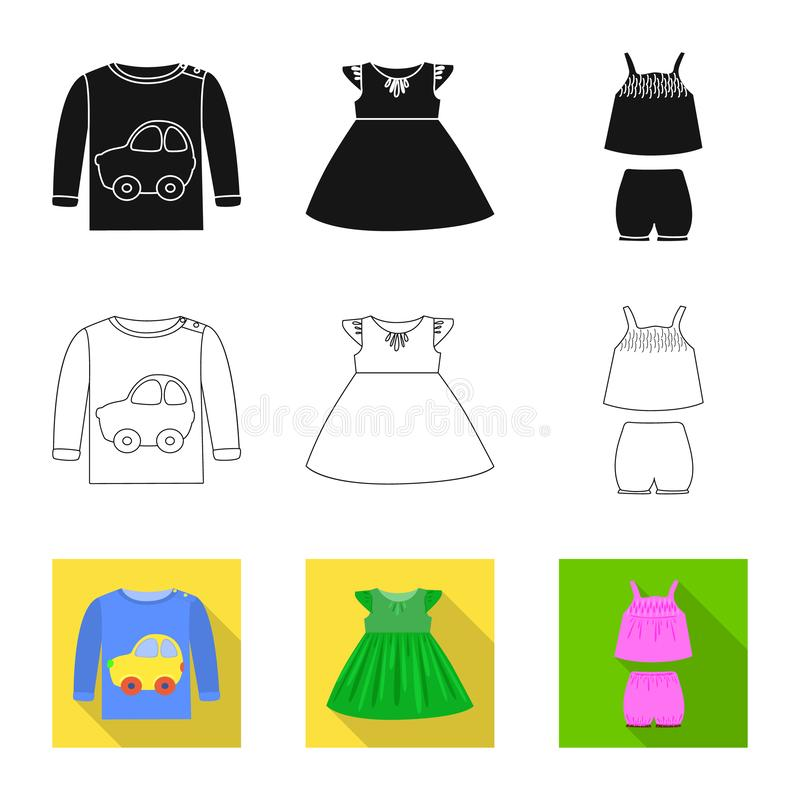 Vector illustration of fashion and garment symbol. Set of fashion and cotton stock symbol for web. Isolated object of fashion and garment sign. Collection of vector illustration