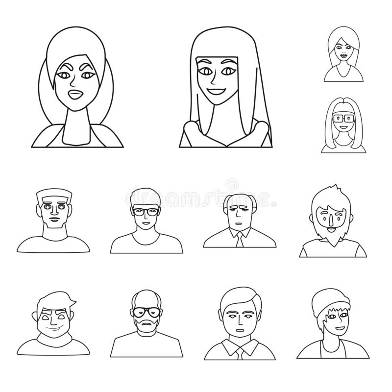 Vector illustration of fashion and haircut icon. Collection of fashion and nationality stock vector illustration. Isolated object of fashion and haircut symbol royalty free illustration
