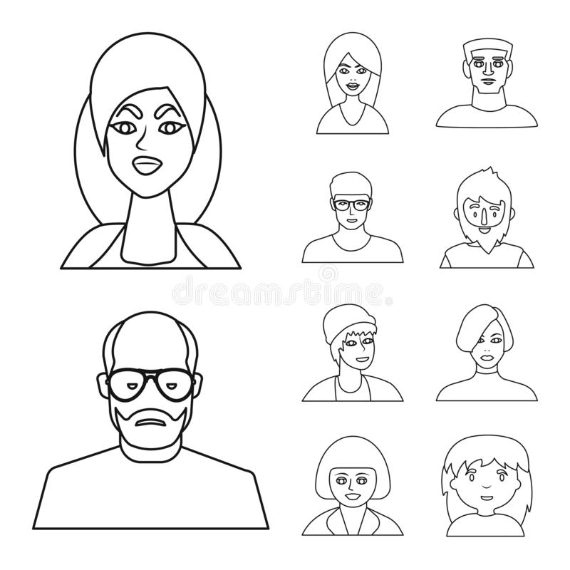 Vector design of fashion and haircut symbol. Set of fashion and nationality stock vector illustration. Vector illustration of fashion and haircut sign vector illustration