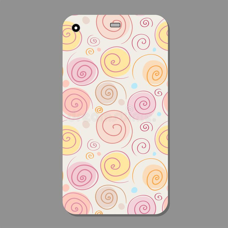 Fashionable abstract spiral ornament for mobile phone cover case. The visible part of the clipping mask. Vector. Vector illustration of Fashionable abstract stock illustration