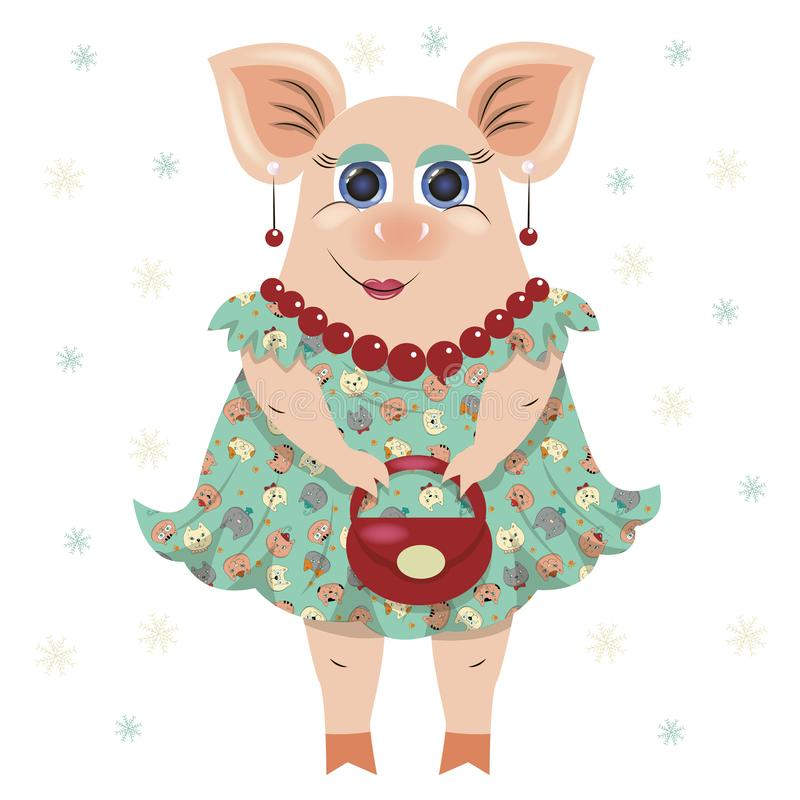 Vector illustration of a fashionable pig girl in a dress, in beads, earrings, with a bag. Symbol of 2019. For registration of card vector illustration