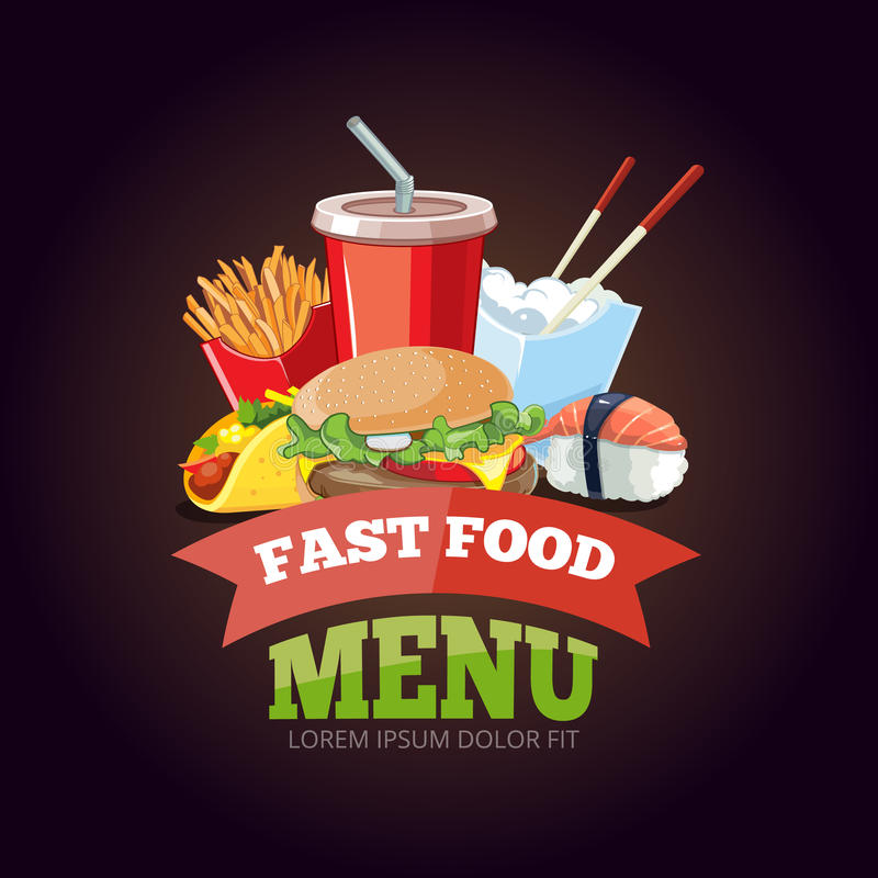 Vector illustration for fast food menu stock illustration