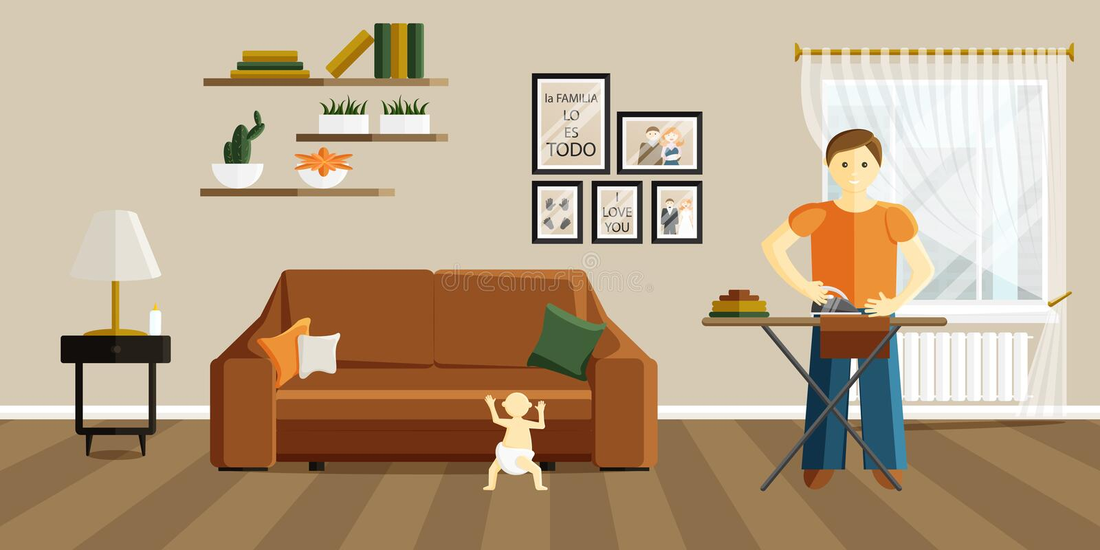Vector Illustration of Father is Ironing Clothes royalty free illustration