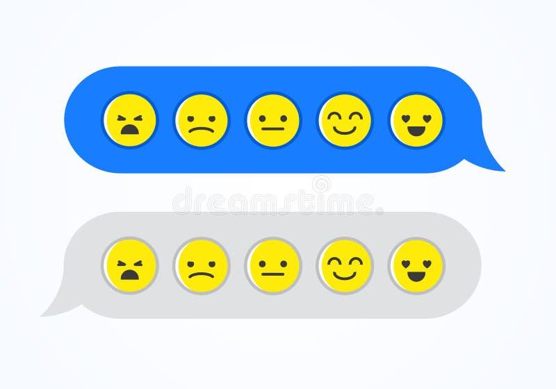 Vector illustration feedback emoticon emoji smiley icon in chat bubbles. From happy to sad vector illustration