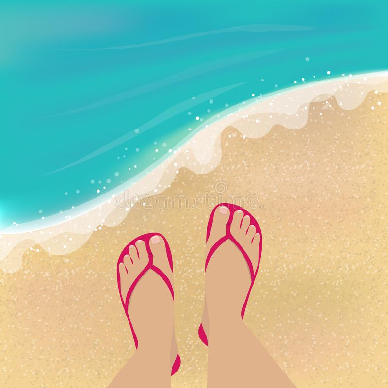 Feet on beach. Vector illustration with feet in sandals, sea and sand beach royalty free illustration
