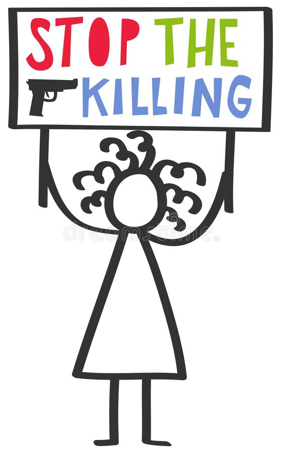 Vector illustration of female stick figure protesting gun violence and holding up sign, stop the killing. Isolated on white background stock illustration