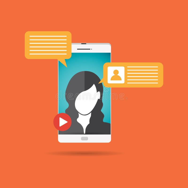 Female Video Call. Vector illustration of female video call concept design element royalty free illustration
