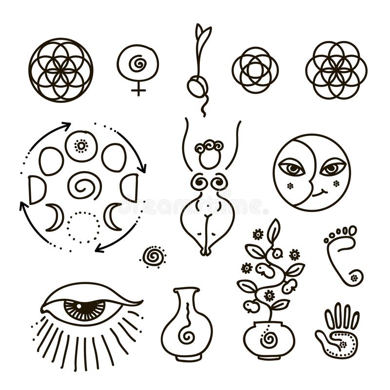 Vector Illustration Of Feminine And All Seeing Eye Symbol And Sacred