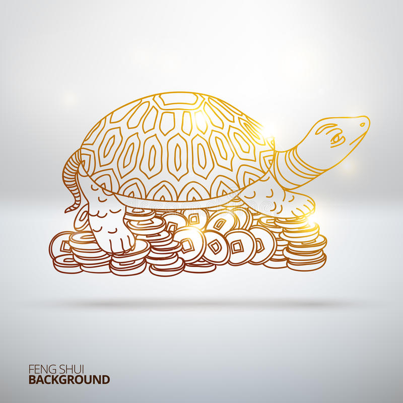 Vector illustration with Feng Shui turtle vector illustration