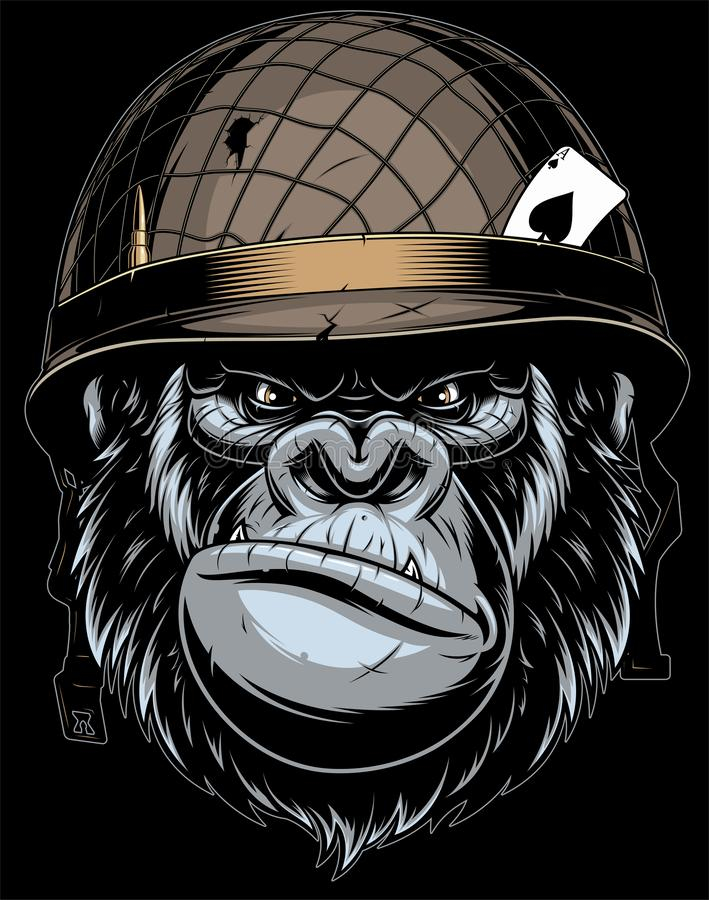 Gorilla in the military helmet. stock illustration